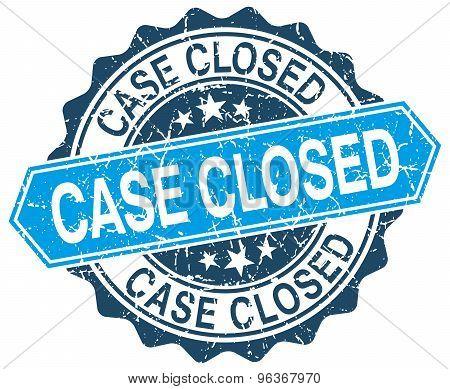 Case Closed Blue Round Grunge Stamp On White