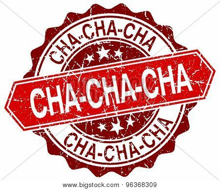 Cha-cha-cha Red Round Grunge Stamp On White