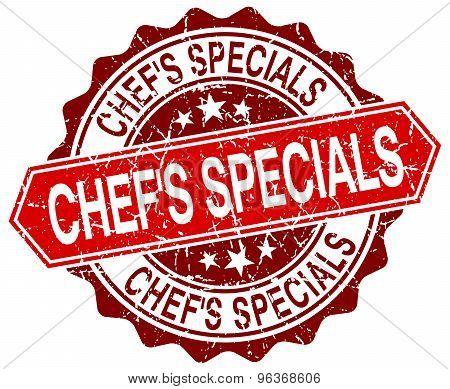 Chef's Specials Red Round Grunge Stamp On White
