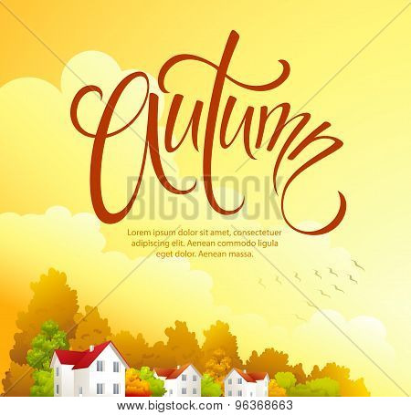 Autumn rural landscape. Vector illustration
