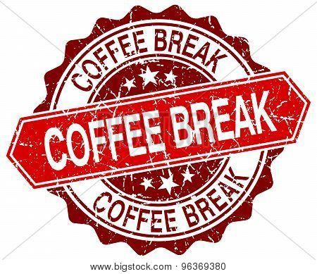 Coffee Break Red Round Grunge Stamp On White