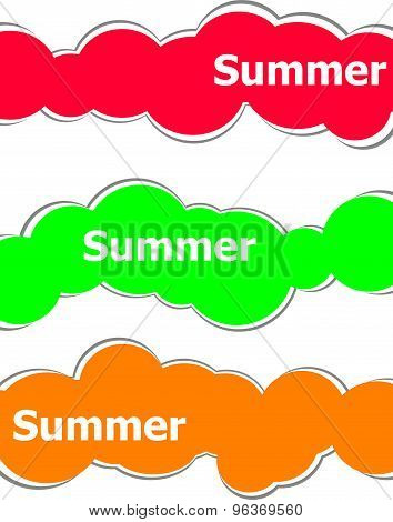 Summer Word On Stickers Set Isolated On White, Summer Time Concept