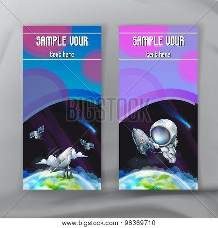 Set of space flyers, brochure template, vector design