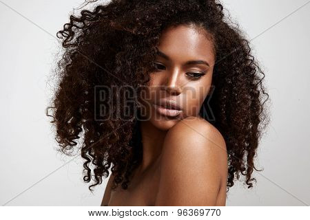 Pretty Black Young Woman With Afro Hair