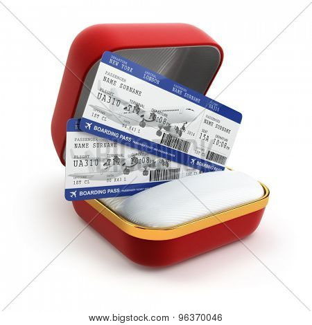 Boarding pass air tocket in gift box isolated on white. 3d