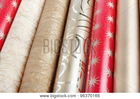 Rolls Of Multicolored Wrapping Paper