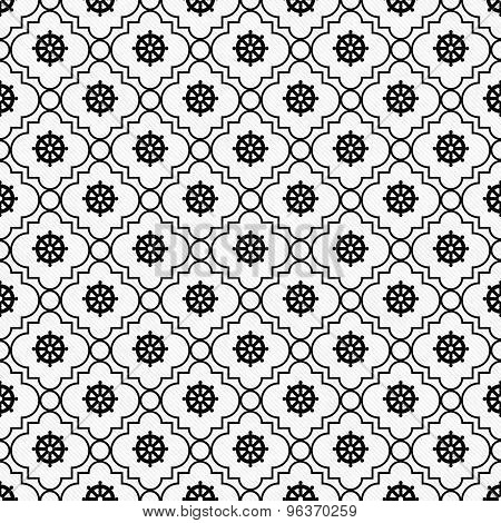 Black And White Wheel Of Dharma Symbol Tile Pattern Repeat Background