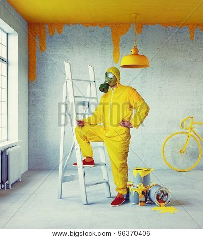 white interior with yellow painter and painted in yellow ceiling. 3d concept
