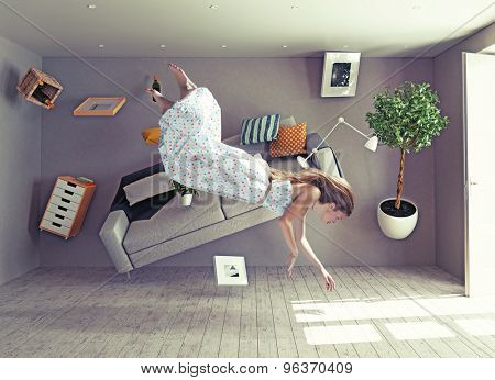 young beautiful lady fly in zero gravity room. Photo combination creative concept