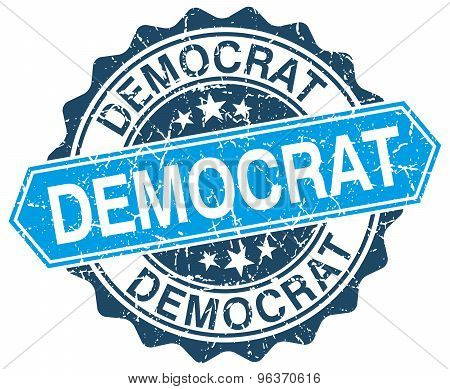 Democrat Blue Round Grunge Stamp On White