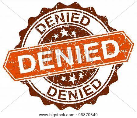 Denied Orange Round Grunge Stamp On White