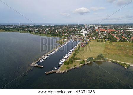 Aerial View Of Hvidovre Harbour, Denmark