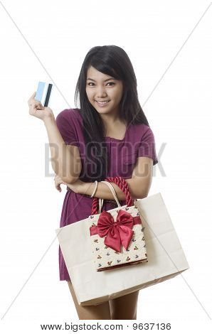 Asian Girl Going Shopping With Credit Card