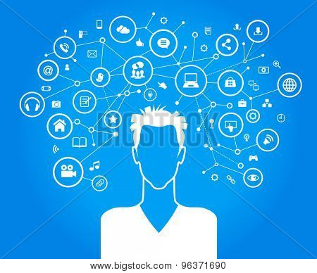Avatar of men surrounded by abstract network and interface icons
