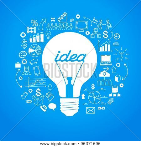 Template idea infographics. Light bulb surrounded by doodle icons