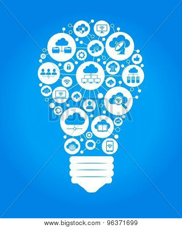 The concept of effective cloud computing. Light bulb with cloud computing icon