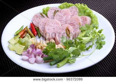 Naem (Thai Sour pork) - Favorite Thai food with lime, Chili, Bean, ginger, shallots