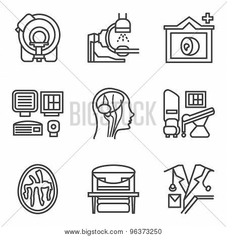 MRI black simple line vector icons set