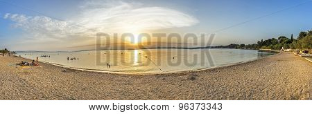 People Enjoy The Evening At The Beach Rognac Near Marseille, France.
