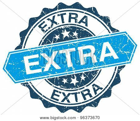 Extra Blue Round Grunge Stamp On White
