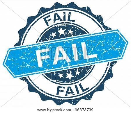 Fail Blue Round Grunge Stamp On White