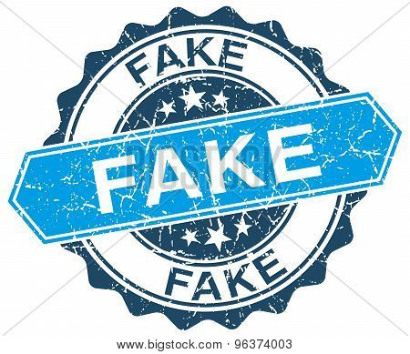 Fake Blue Round Grunge Stamp On White