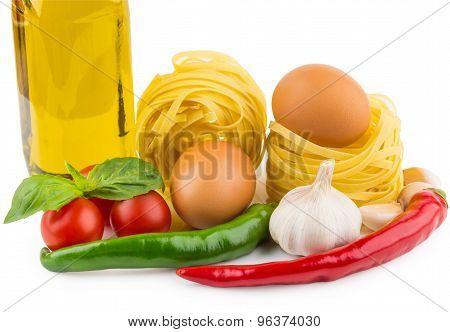 Pasta Tagliatelle, Bottle Of Olive Oil, Tomatoes, Garlic, Chili Pepper