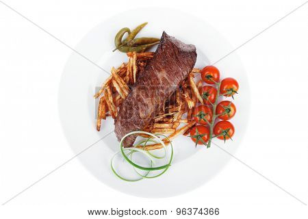 festival of taste : grill meat on potato chips with fresh tomato and hot green peppers isolated on white background