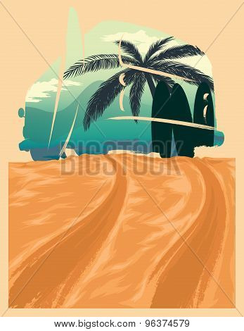 Surf Van Illustration. Summer Feelings