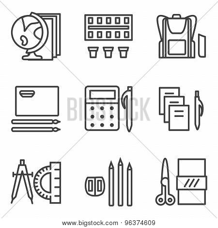Simple line vector icons for school subjects