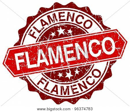 Flamenco Red Round Grunge Stamp On White