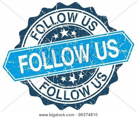 Follow Us Blue Round Grunge Stamp On White
