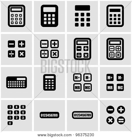 Vector black calculator icon set