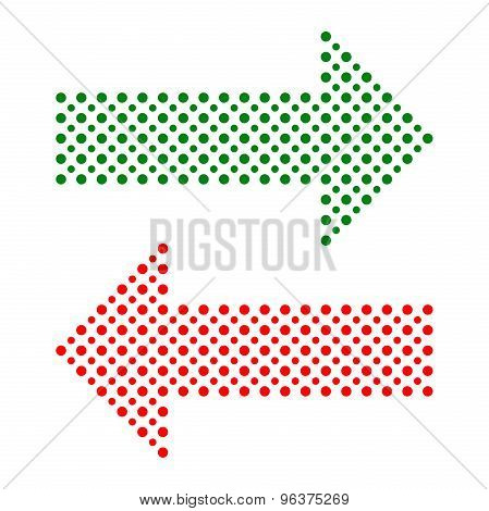 Fine Vector Dotted Red and Green Arrows