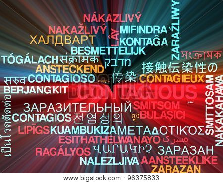 Background concept wordcloud multilanguage international many language illustration of contagious glowing light