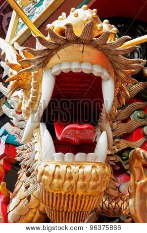 Colorful decorative Chinese dragon with open mouth