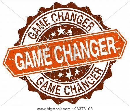 Game Changer Orange Round Grunge Stamp On White
