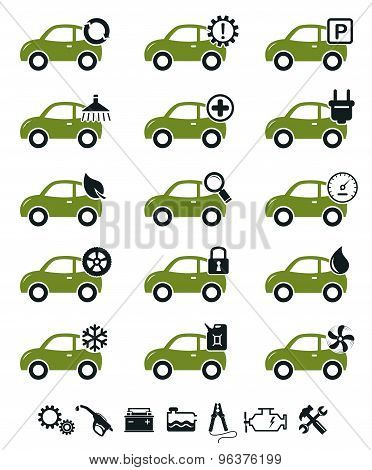 Car Service Icons Green Set