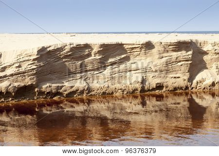 Eroded sand riverbank after High flows