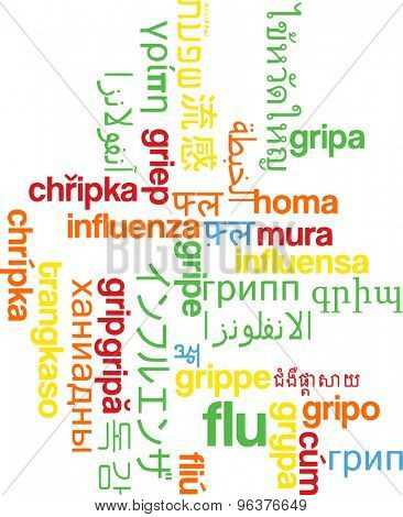 Background concept wordcloud multilanguage international many language illustration of flu