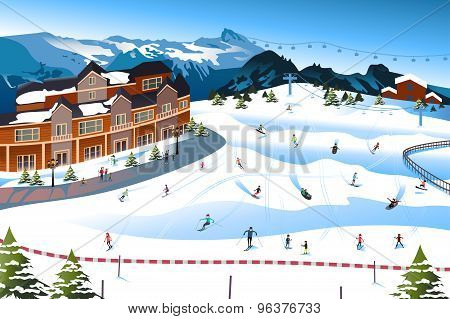 Scene In A Ski Resort