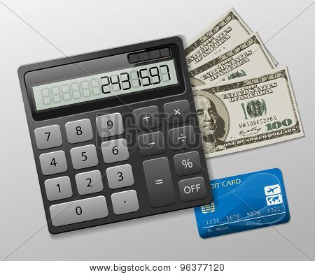 Calculator, dollars and credit card on a gray background. Business icon. Illustration,