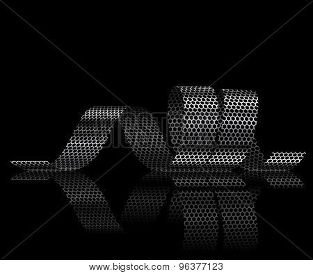 Metallic ribbon on a black background. Illustration