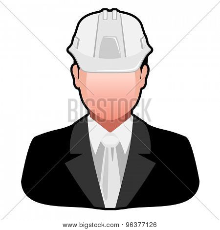Icon Engineer in Safety Helmet isolated on white background. illustration.