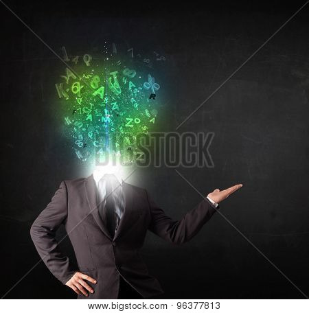Business man with abstract glowing letters on head concept
