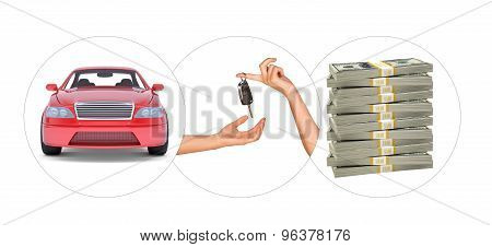 Car with hands and bundle of money
