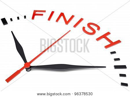 Clock with word finish