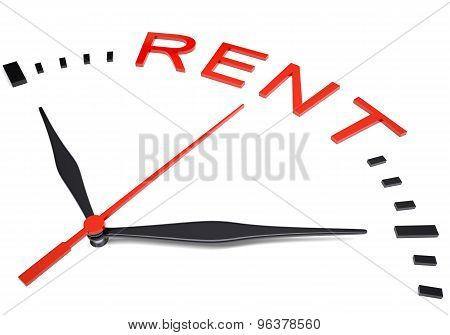 Clock with word rent