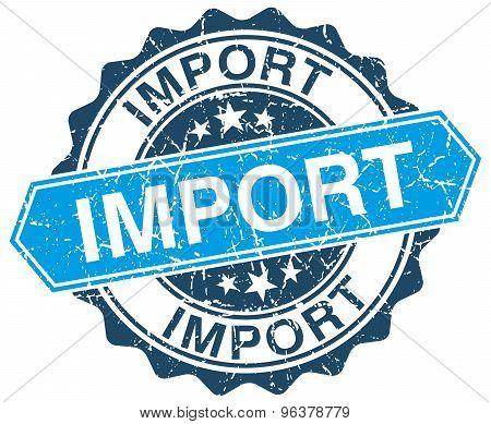Import Blue Round Grunge Stamp On White