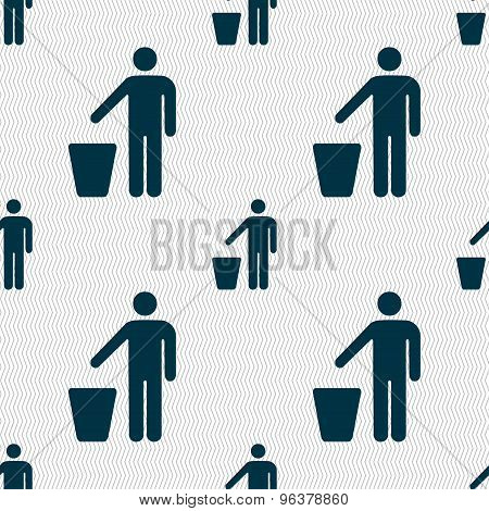 Throw Away The Trash Icon Sign. Seamless Pattern With Geometric Texture. Vector